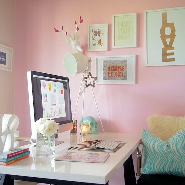 girly office. 30 Best Glam, Girly, Feminine Workspace Design Ideas Girly Office O