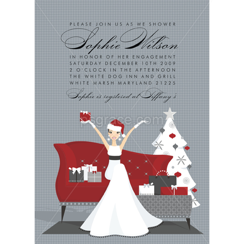 Bride in white gown and santa hat sitting on red couch holding red bridal and wedding shower invitations fabulous christmas bride bridal shower invitation doc milo filmwisefo
