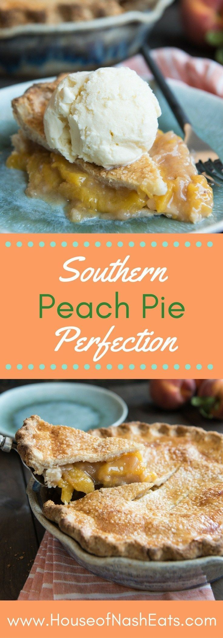 Pie Perfection This classic, Southern Peach Pie is absolute dessert perfection! Filled with summer's juiciest, sweetest fresh peaches and made with a flaky, buttery double-crust dusted with sanding sugar, it's as beautiful a pie as it is delicious and wonderful served à la mode with a big scoop of vanilla ice cream!This cl...