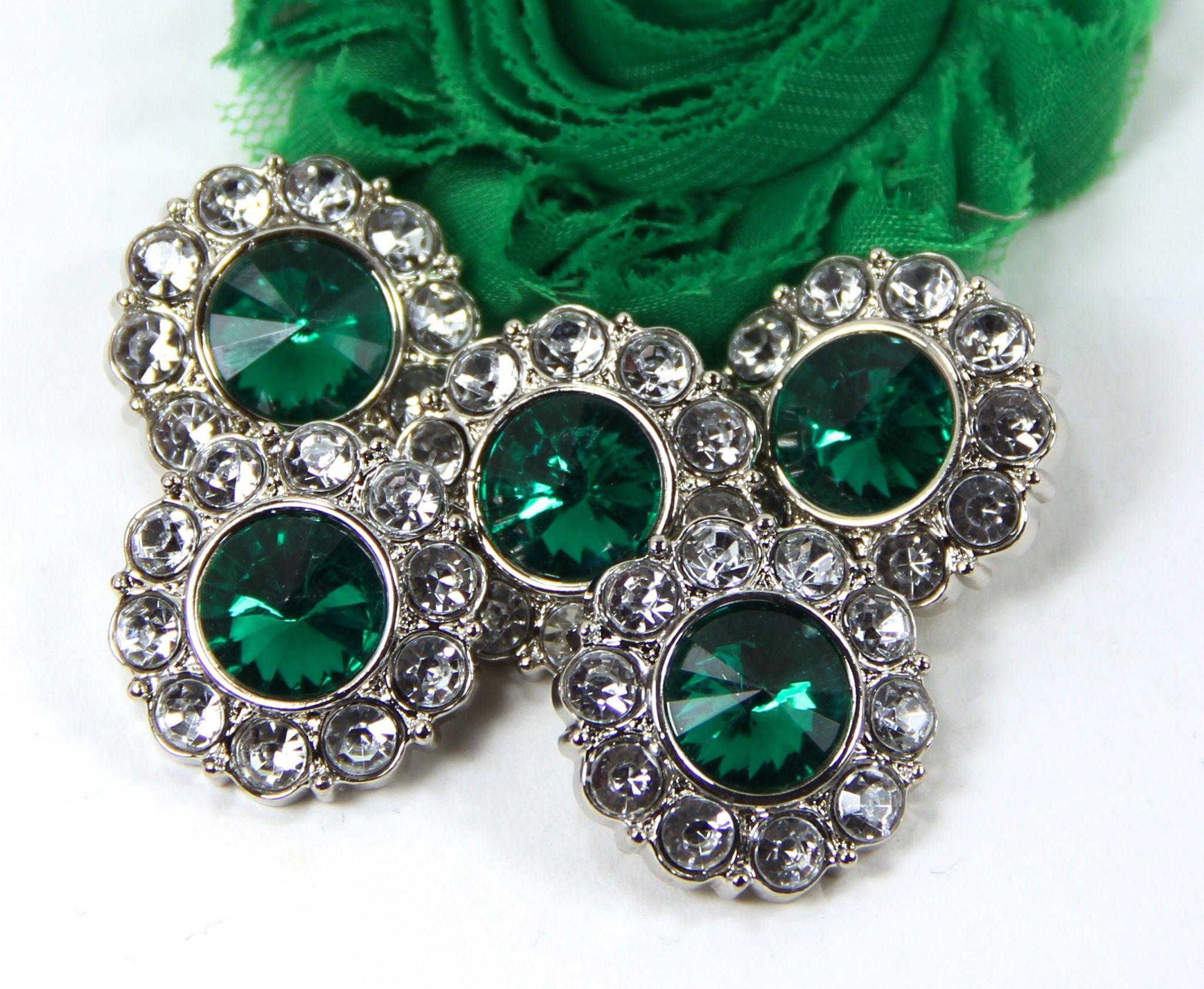 5 pcs 21mm clear w// emerald green center acrylic rhinestone button