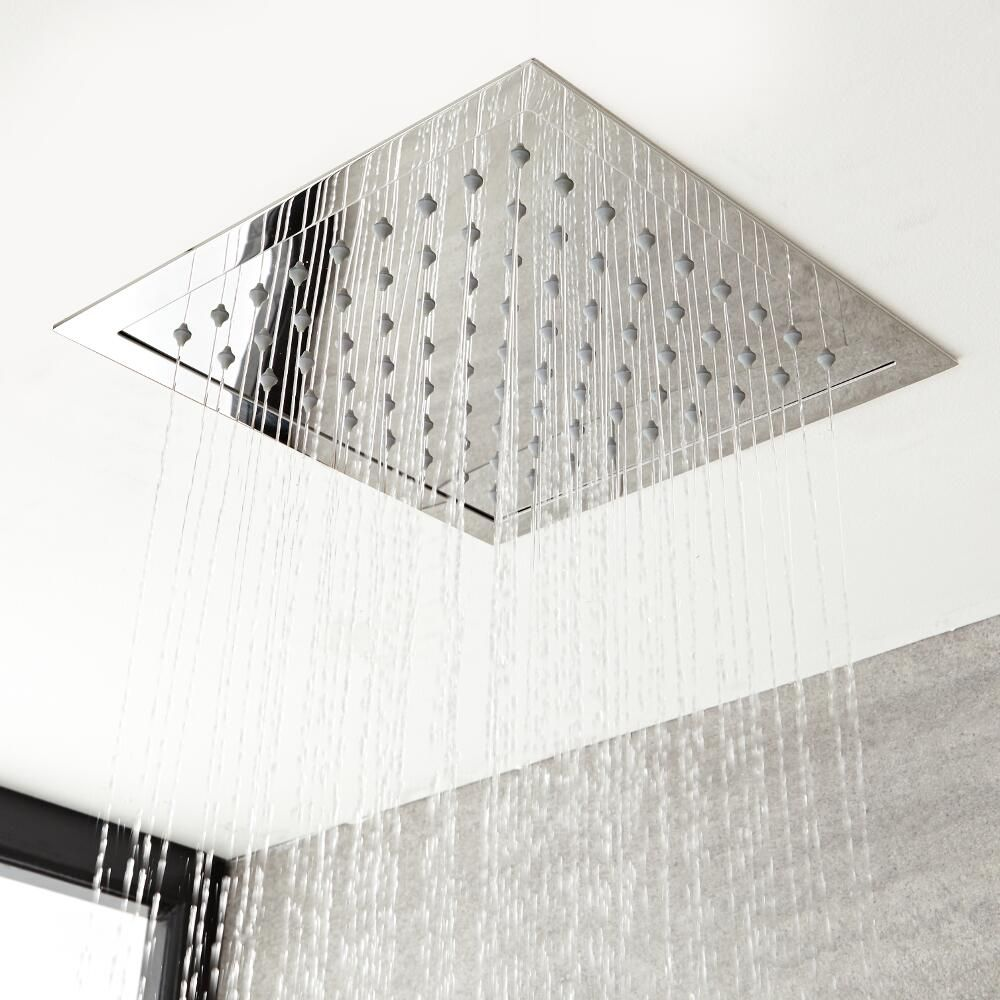Milano Arvo Modern 280mm Square Recessed Shower Head Chrome Shower Heads Modern Shower Ceiling Shower Head