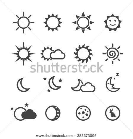 sun and moon icons, mono vector symbols | yarn painting ...