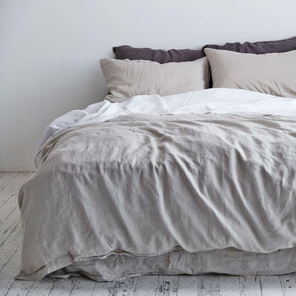 100% Linen Duvet Cover In Dove Grey