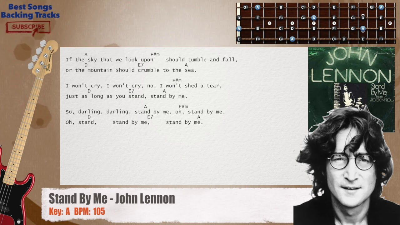 Stand By Me John Lennon Bass Backing Track With Chords And Lyrics