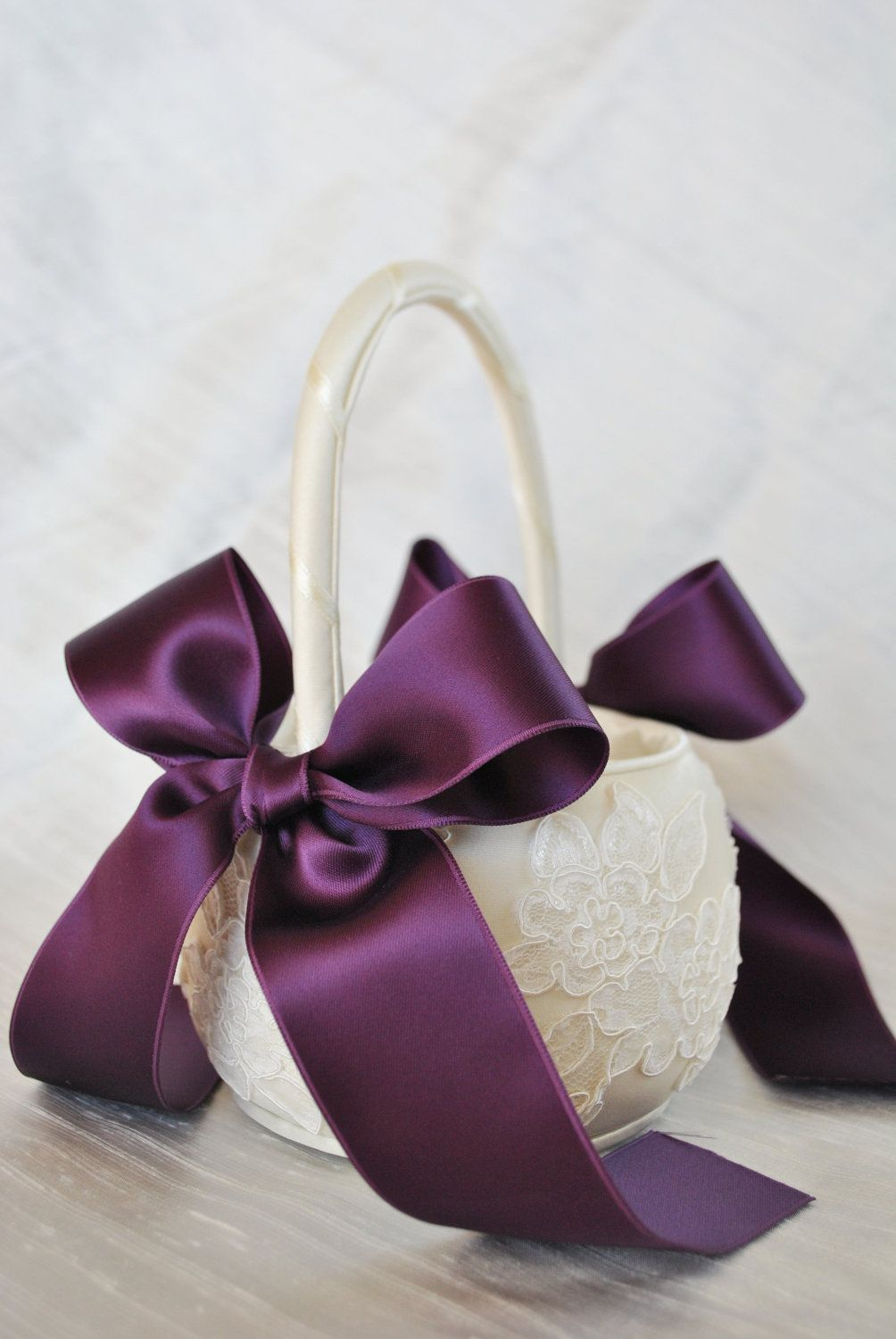 Purple Flower Girl Basket - Purple and Ivory Alencon Lace Flower Girl Basket. $40.00, via Etsy.
