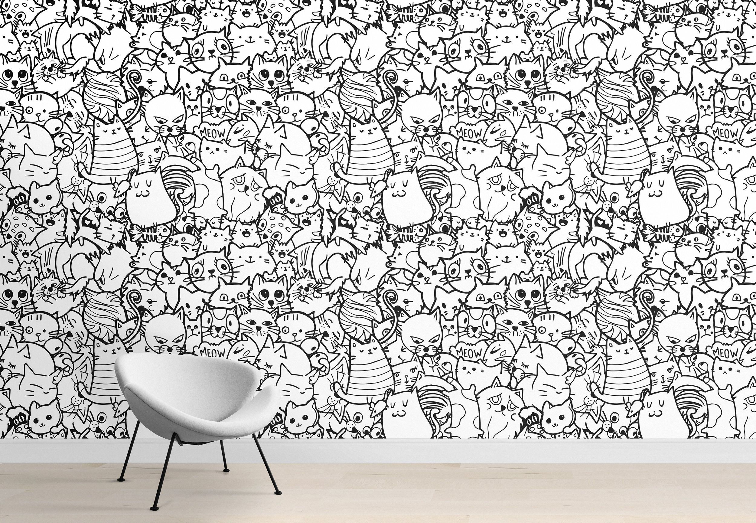 Kids room doodles wallpaper, nursery wall murals, black