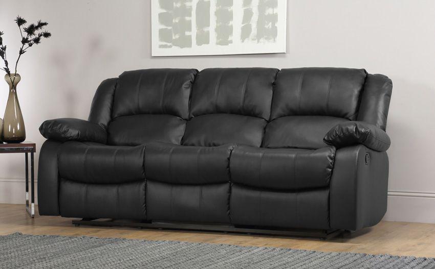 Schwarzes Leder Liege Sofa