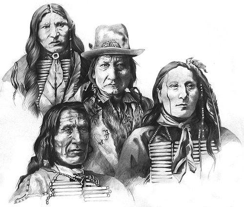 Native american Chief composition pencil portraits | Board