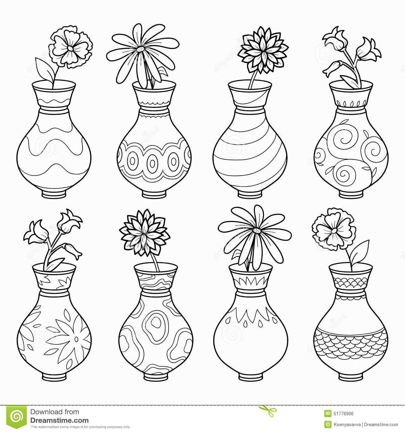 O Livro Para Colorir Vasos Com Flores Vector O Grupo Incolor