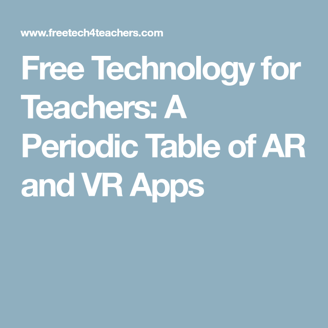 A Periodic Table Of Ar And Vr Apps Chemistry Pinterest App