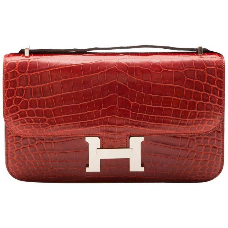 c4c5d82664ee Hermès Rouge Porosus Crocodile H Constance Elan Shoulder Bag