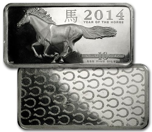 2014 Lunar Year Of The Horse 10 Troy Oz 999 Silver Bar Horseshoe On Reverse Moderncoinmart Silver Bars Silver Horse Year Of The Horse