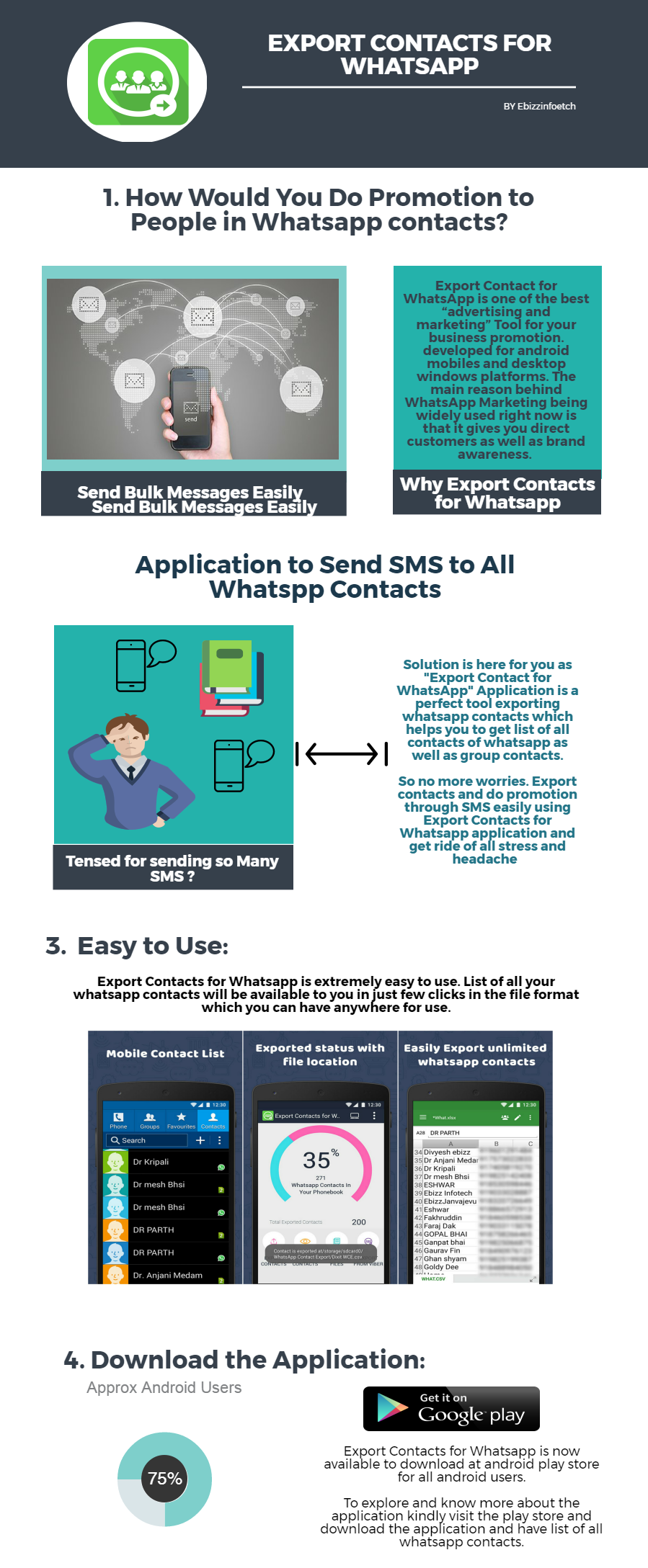 Export Contacts for Whatsapp android application