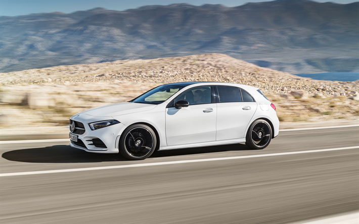 Download Wallpapers Mercedes Benz A Class 2018 Side View 4k