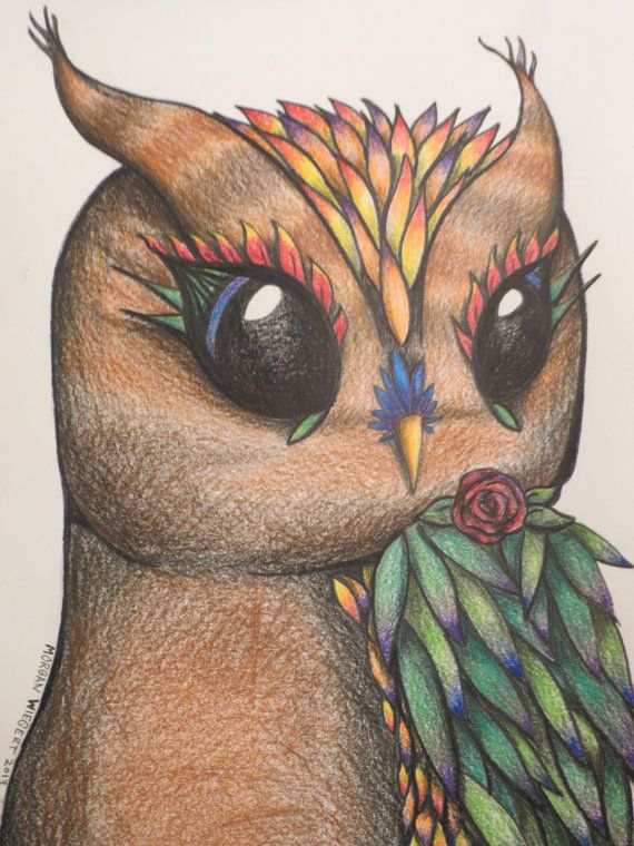 "Tropical Flower Owl  - 8x10"" Original Colored Pencil Drawing - Cute Nature Owl Art Sketch Ready to Frame"