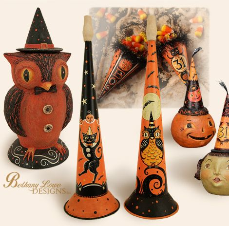 I Halloween Folk art by Joanna Parker Someday I will get to a show - vintage halloween decorations