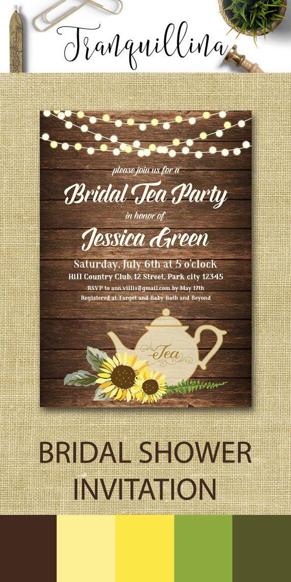 Bridal Shower Tea Party Invitation Printable, Sunflower Birthday ...