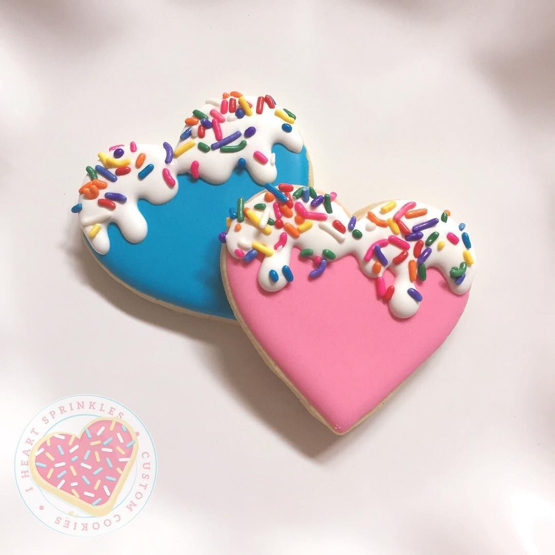 Hearts With Sprinkles Decorated Cookies For Valentines Day Iced