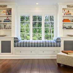 20 Peaceful Window Seat Ideas For Your Home. Banquet SeatingLiving Room  BookcaseBay WindowsBedroom WindowsBedroom Built InsLiving ...