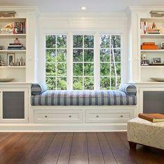 20 Peaceful Window Seat Ideas For Your Home. Banquet SeatingLiving Room  BookcaseBay WindowsBedroom WindowsBedroom Built InsLiving ...