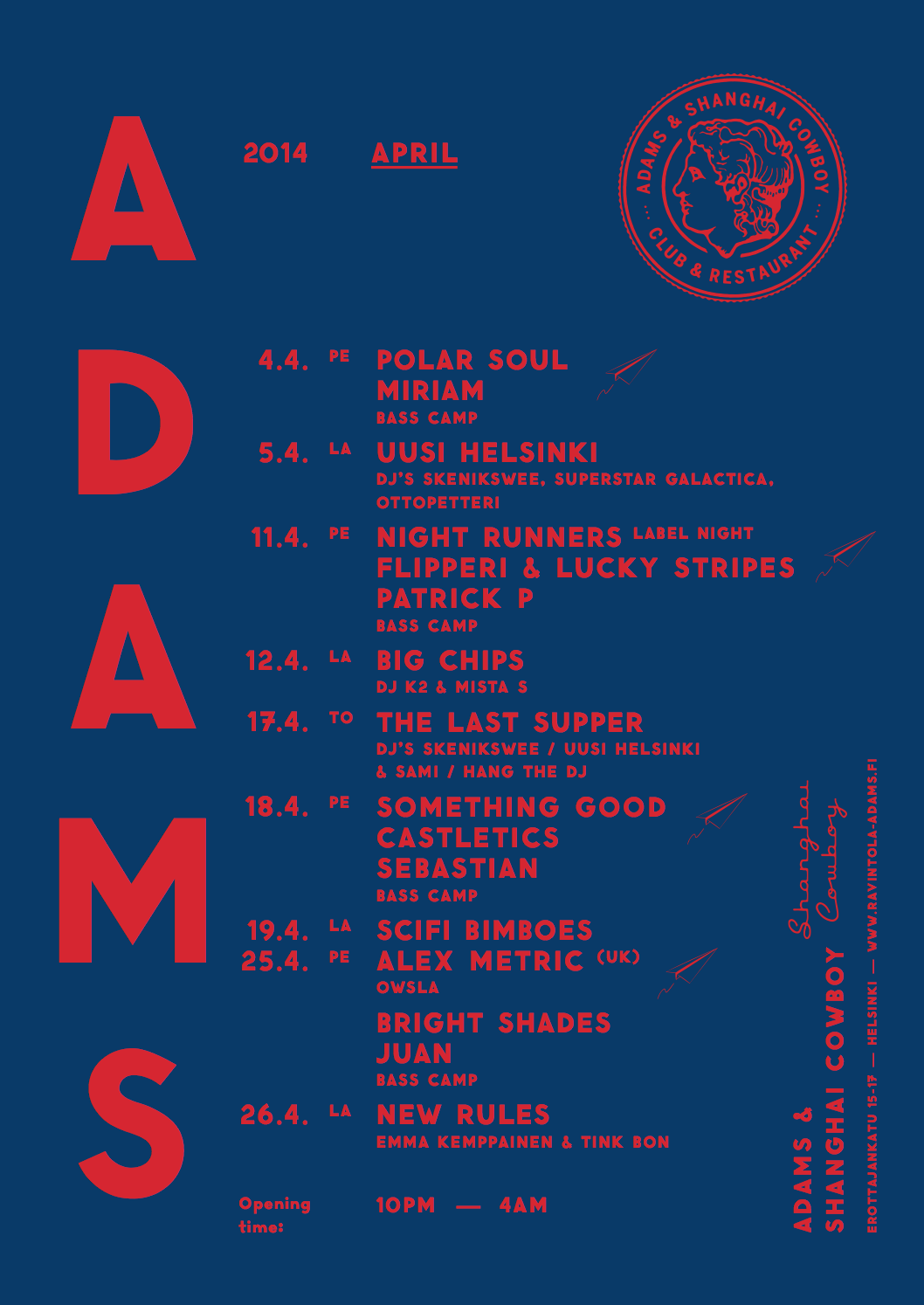 ADAMS Club U0026 Restaurant Website. Design: Tony Eräpuro #poster #music  #promotion
