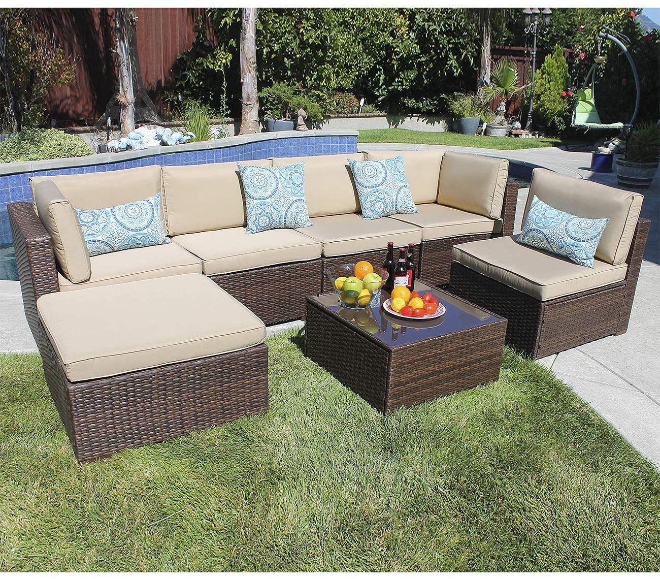 Joivi 7 Piece Patio Furniture Set Outdoor Furniture Set Pe Rattan Wicker Sectional With Beige C Outdoor Furniture Sets Outdoor Furniture Patio Furniture Sets