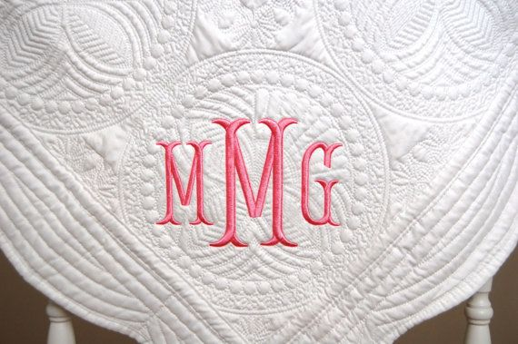 New baby gift monogram baby quilt baby quilt baptism gift monogram baby quilt new baby gift personalized baby blanket white or baby pink negle Image collections