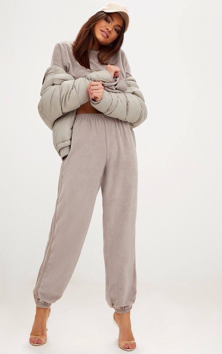 Taupe Velour Side Stripe Joggers Pretty Little Thing 9Fg0ar05Y