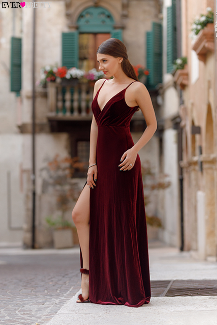 Velvet Evening Dress with Thigh High Slit | The Latest Fashion ...