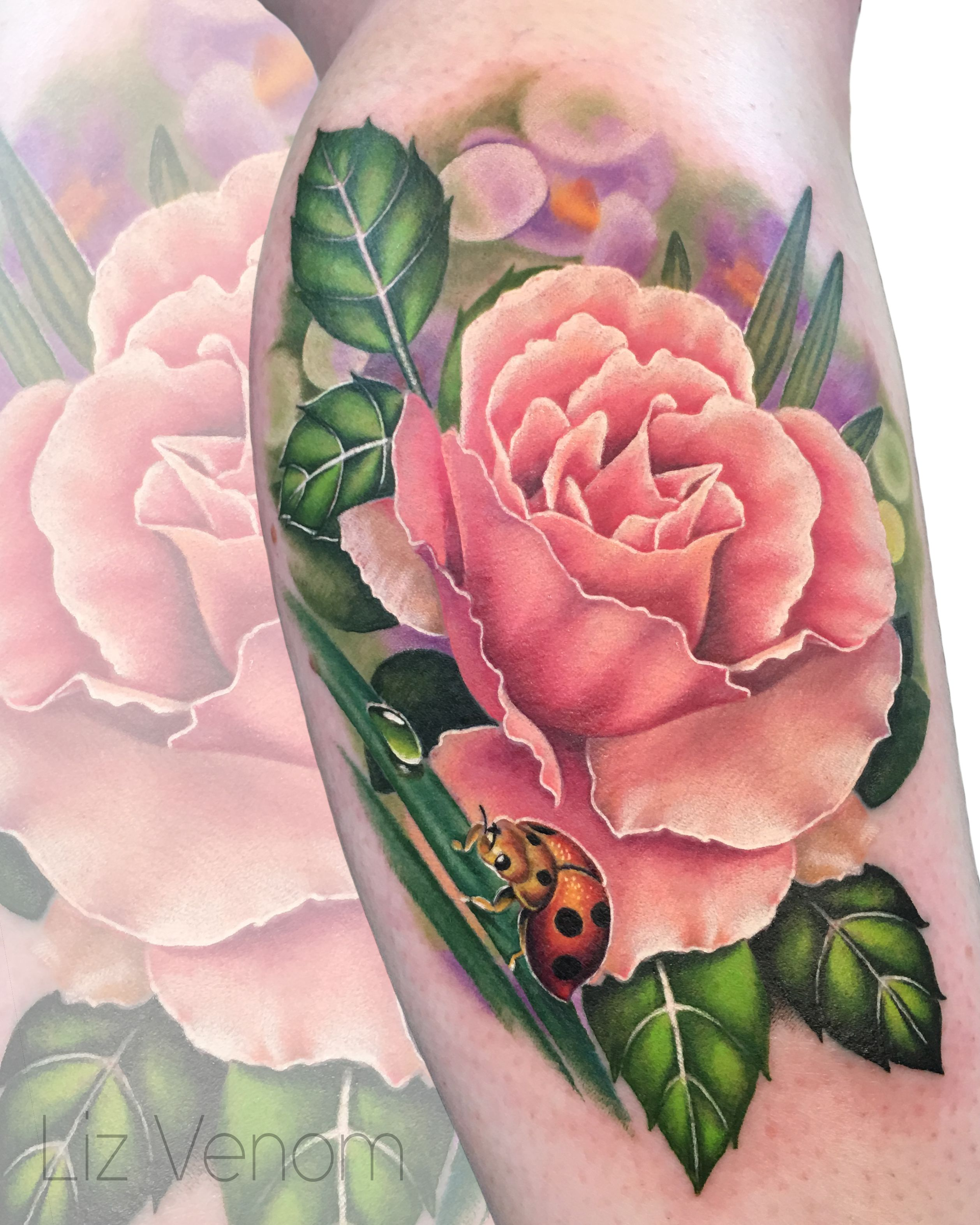 Vintage Venom Tattoo Thoughts: Beautiful Peach Rose Tattoo By Liz Venom. . . . . . Tattoo
