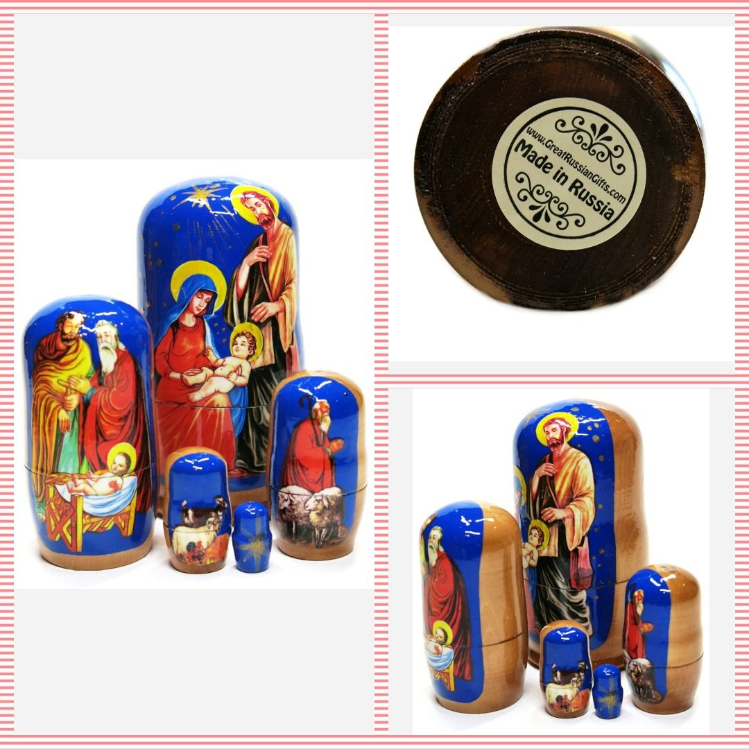 "Nativity Jesus Christ 5 Piece Russian Religious 4.5/"" Babushka Nesting Doll Set"