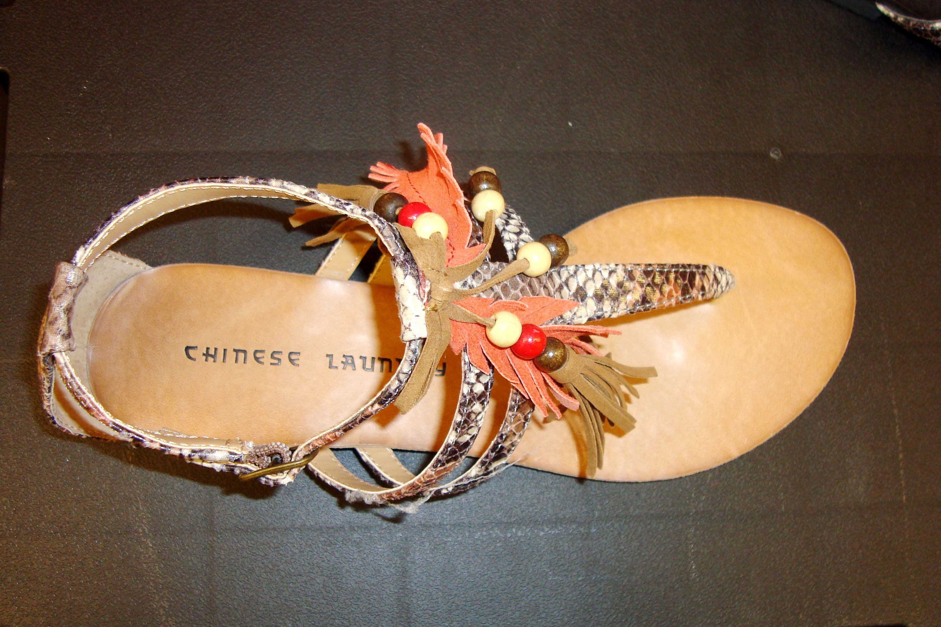 Indie feathered beige chinese laundry sandals chinese