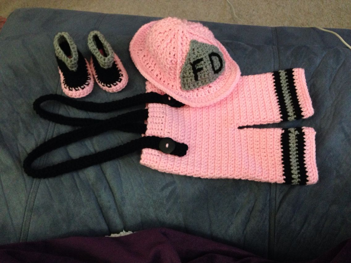 Crochet pink baby fireman outfit
