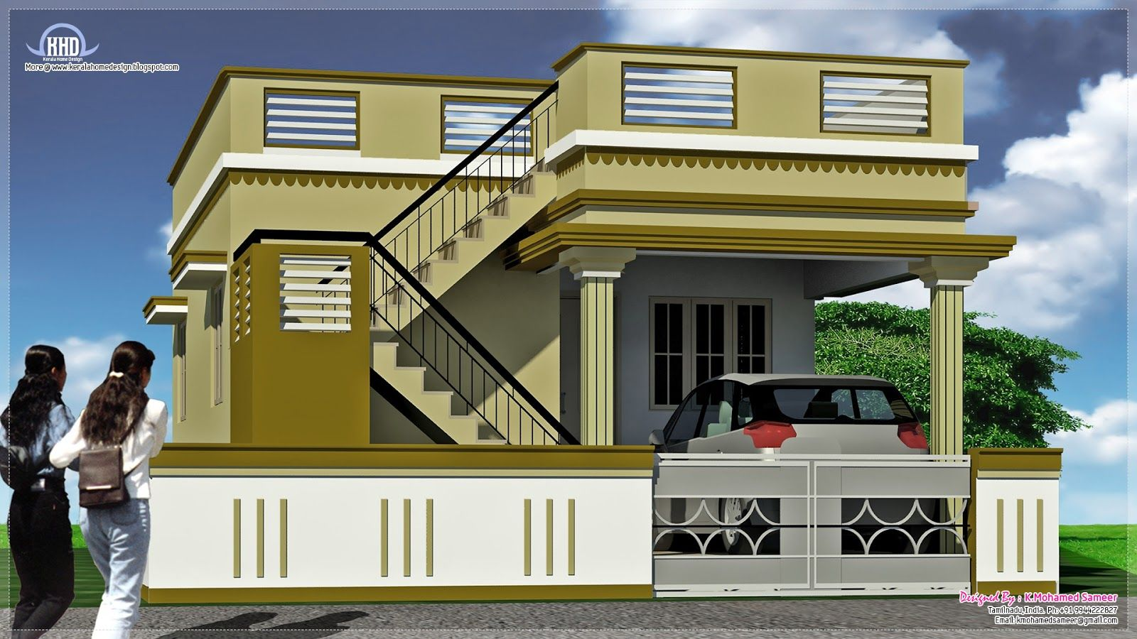 South indian house exterior designs house design plans for Home exterior design india residence houses