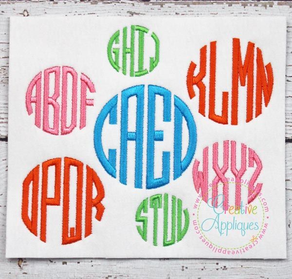 Natural Circle 4 Letter Monogram Embroidery Alphabet Font