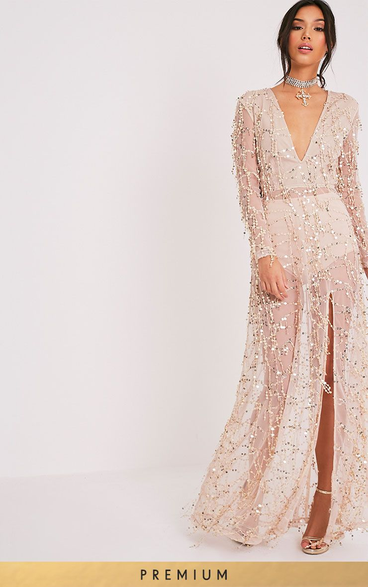 3946b1d6e7 Valentina Gold Sequin Long Sleeve Maxi Dress