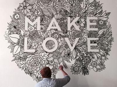 MAKE LOVE Mural Murales, Tipografía y Mandalas - murales con fotos