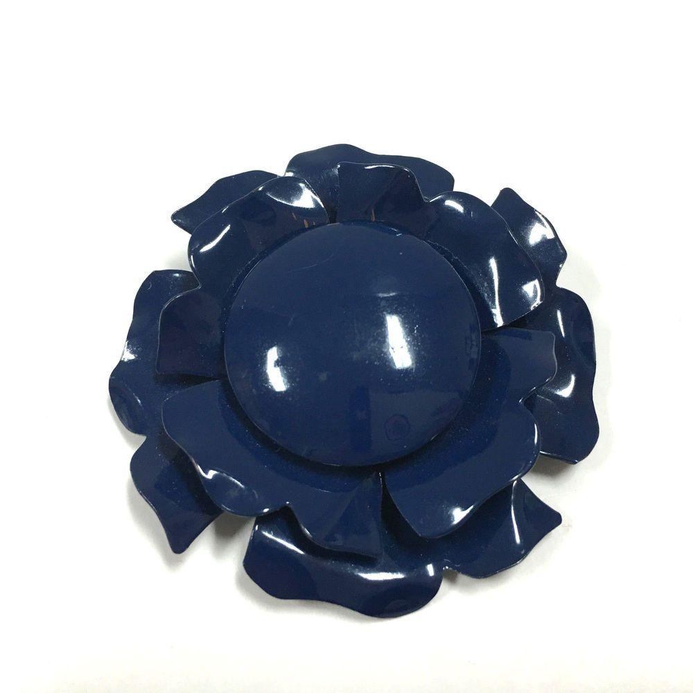 Vintage MOD 60's Navy Blue Three Layer Flower Brooch Pin Lot FF42e