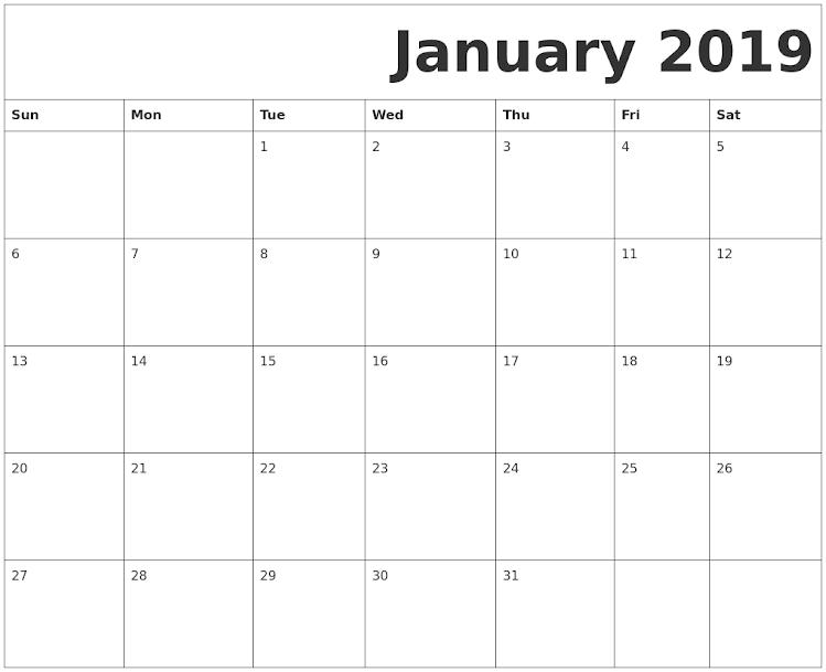 January 2019 Calendar Page Photo January 2019 Calendar Page Free Printable | 100+ January 2019