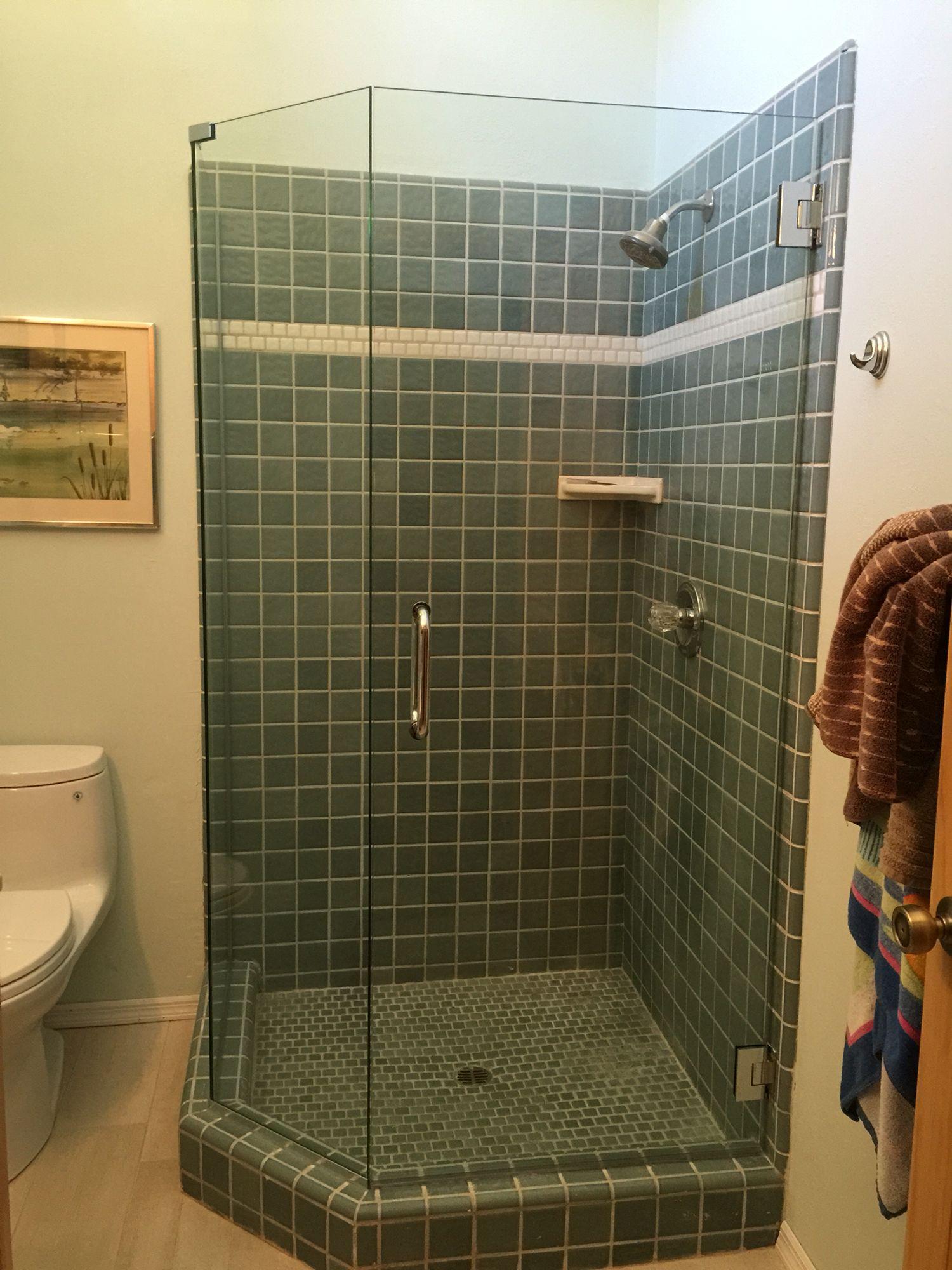 Serenity series frameless sliding shower enclosure. 3/8\