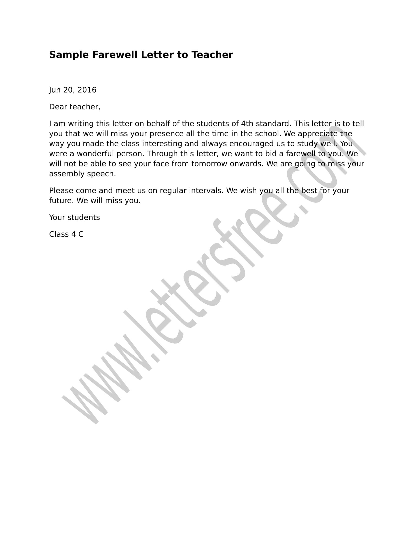 Farewell Letter to Teacher Sample Farewell Letter