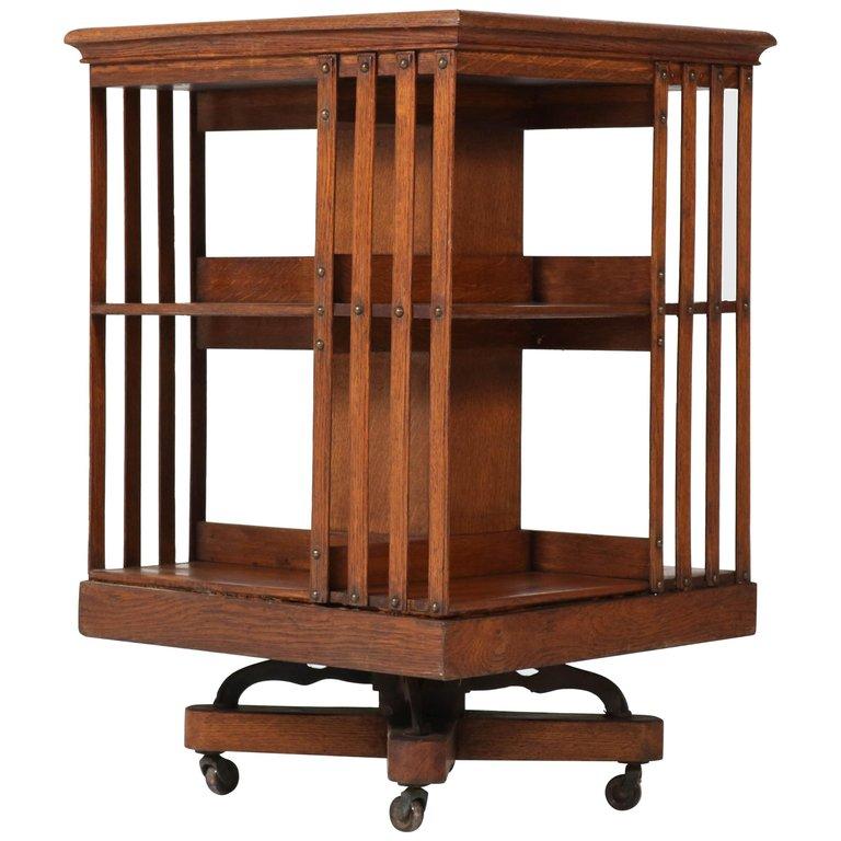1stdibs Oak Revolving 1910 Art Nouveau English Bookcase Art