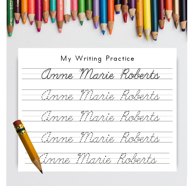 Personalized Cursive Writing Practice Worksheet Printable