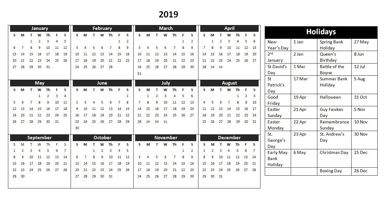 Free Printable 2019 Calendar With Uk Holidays.2019 Calendar Uk Free Download