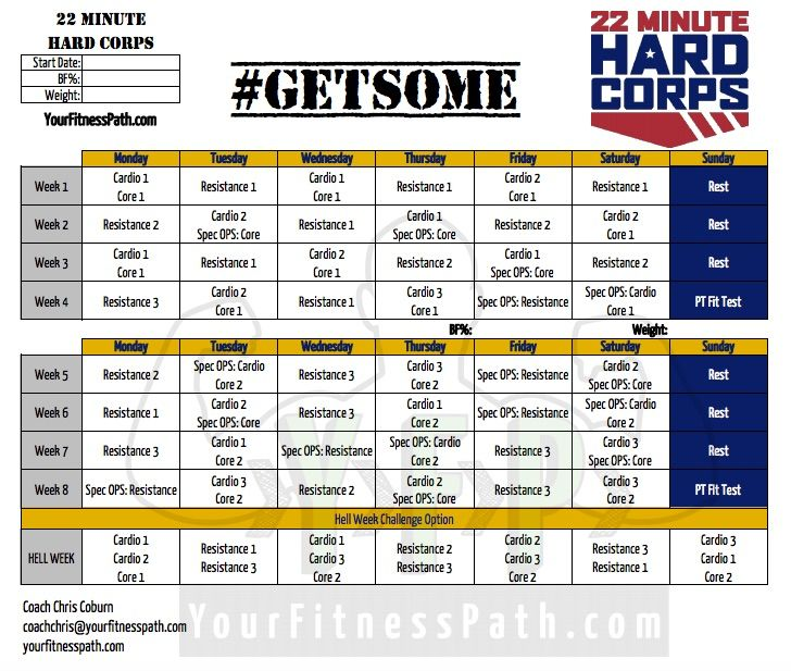 The  Minute Hard Corps Workout Calendar Is Now Available To