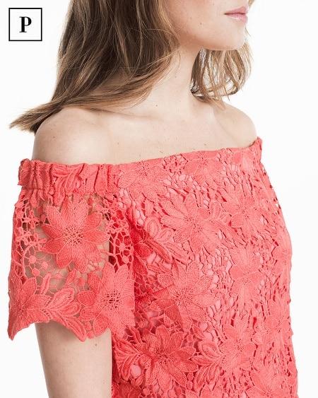 1df0fe19721d88 Women s Petite Off-the-Shoulder Lace Crop Bodice Top by White House Black  Market