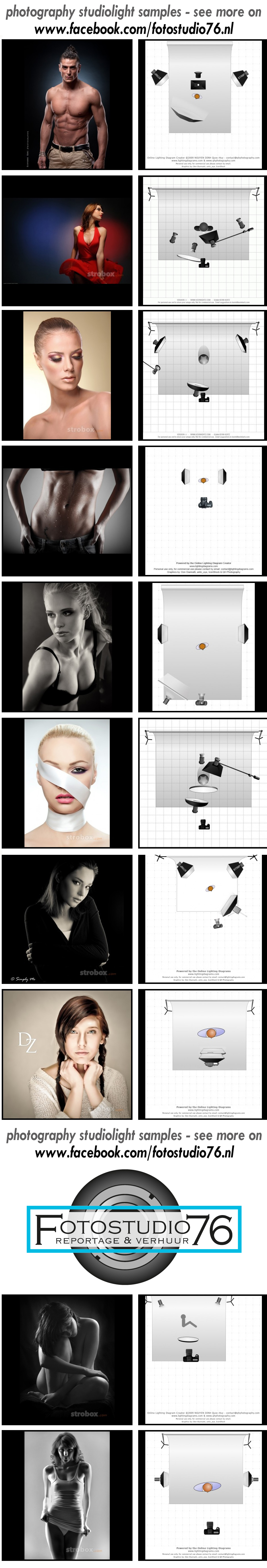 Studio photography lighting set ups