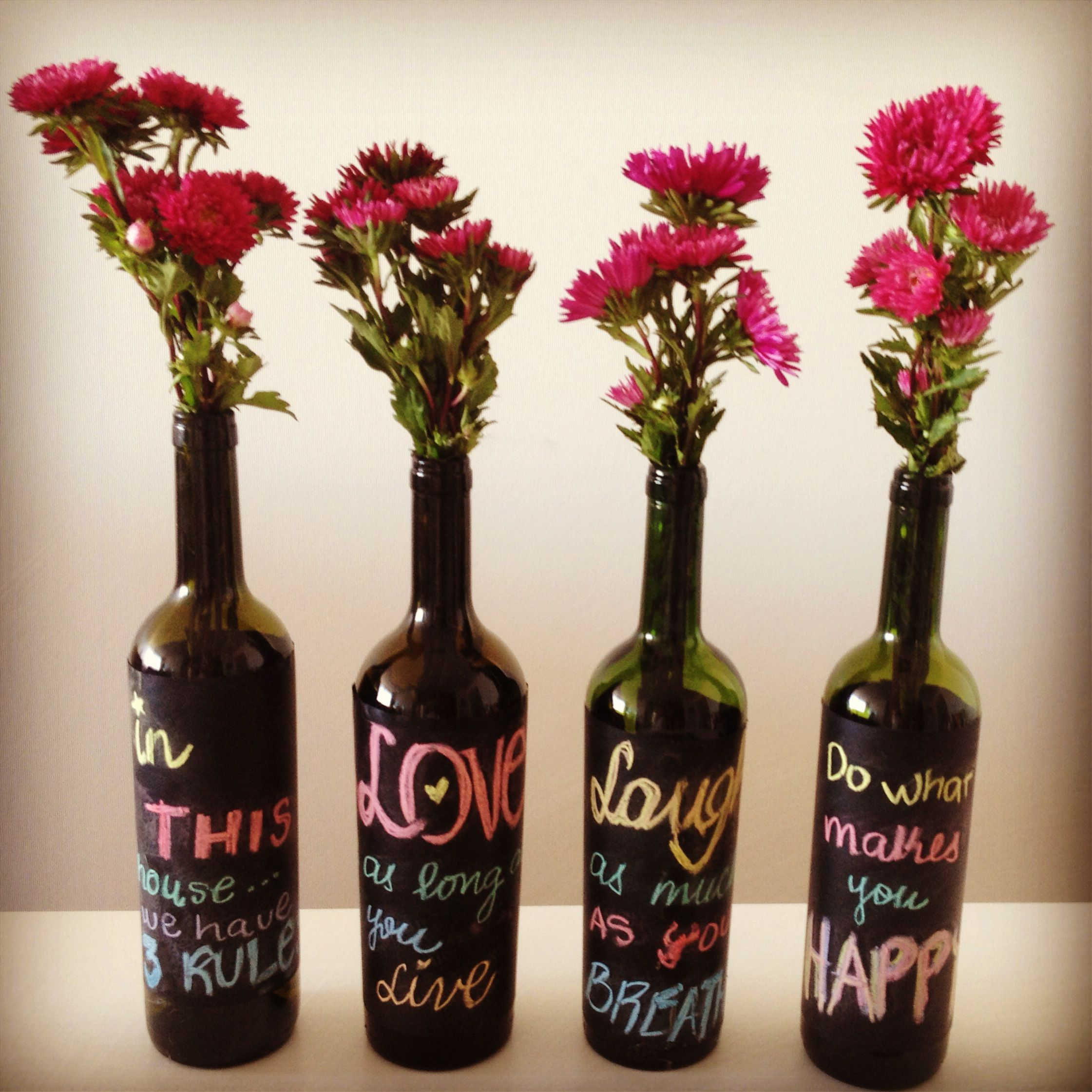 Reduce reuse recycle Wine bottles Live laugh love Homemade at