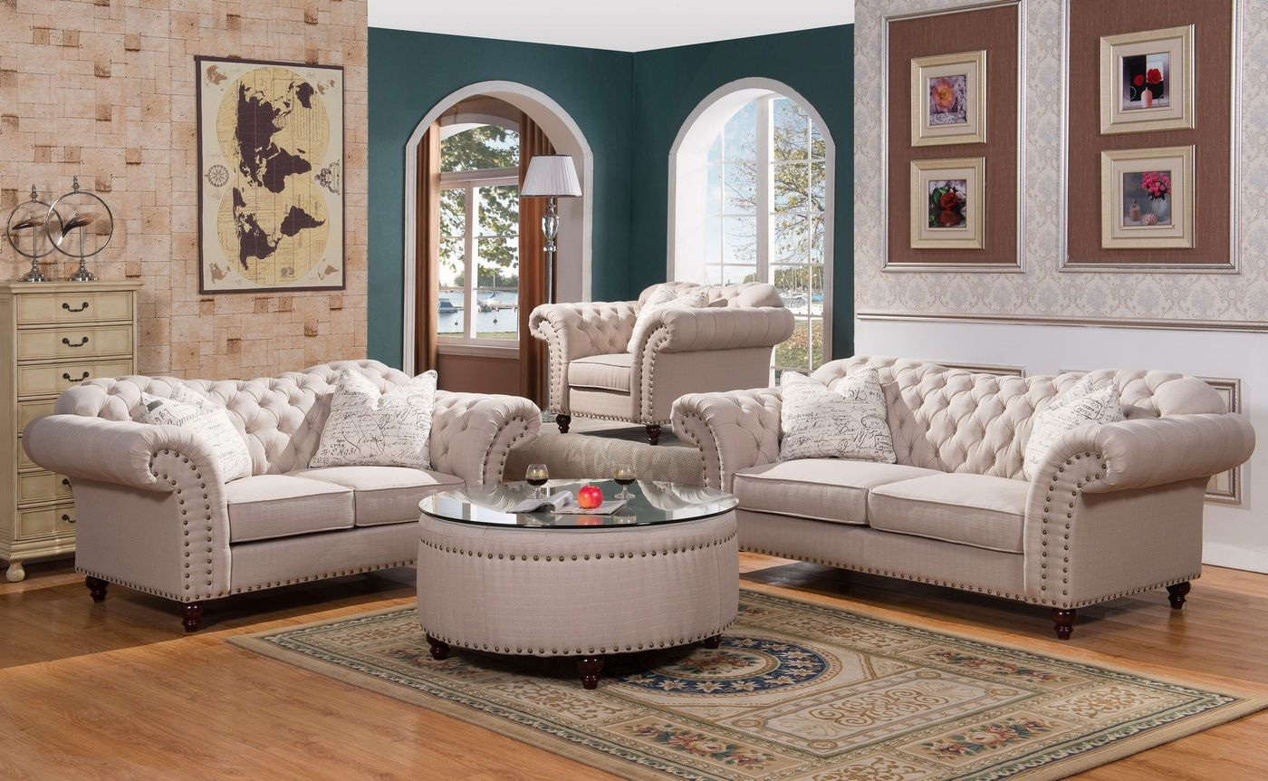 Walton Classic Sweetheart Button Tufted Sofa Loveseat Set In