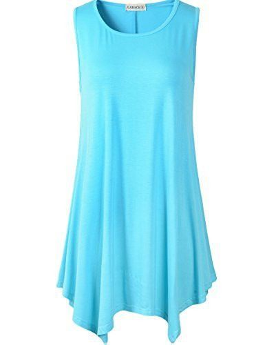 a5c675c325e4e ... TAY Online Store. Women Plus Size Solid Basic Flowy Tank Tops Summer  Sleeveless Tunic